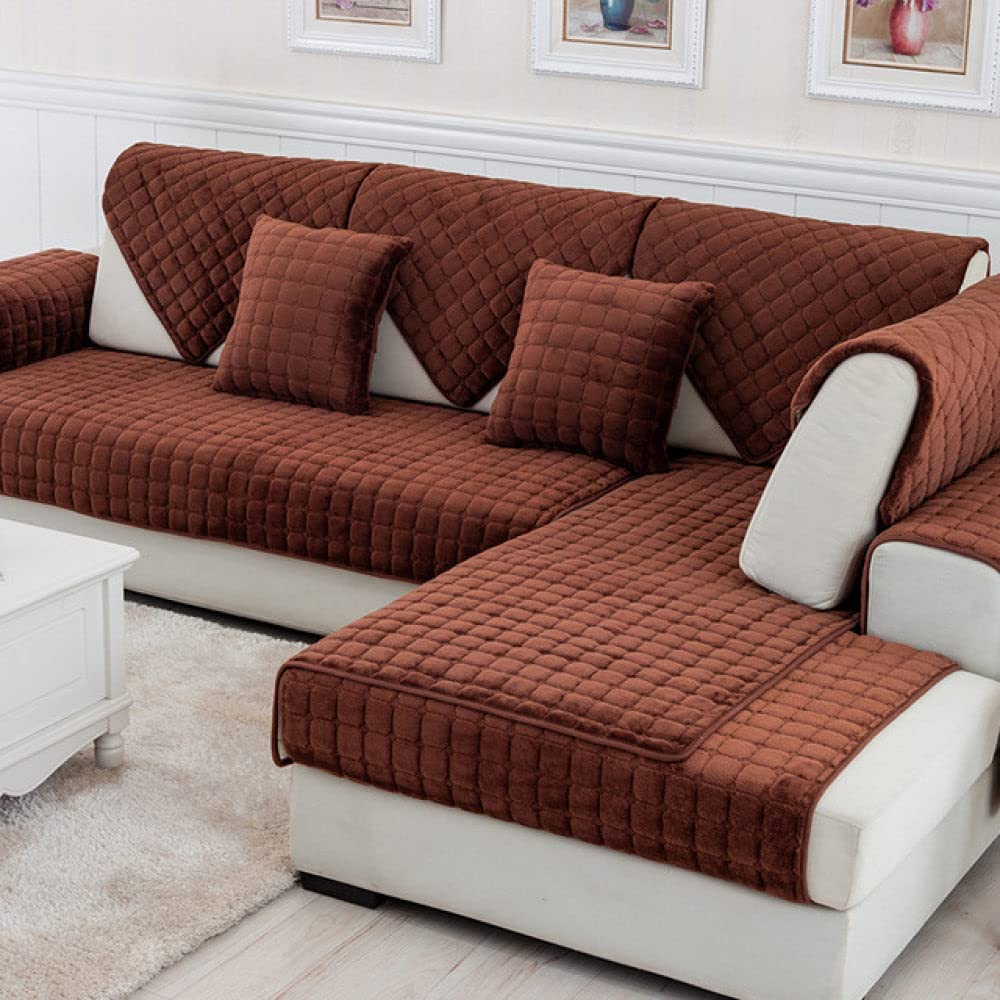 HSIYE Slipcover Sets Solid Color Thicken Soft Max 41% OFF Flannel Quilte Red Popular brand