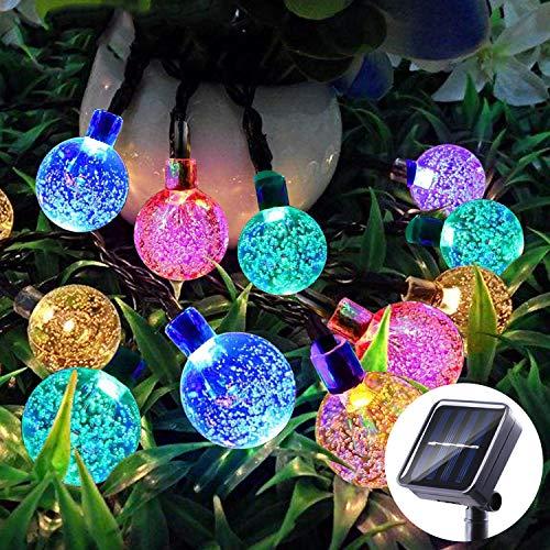 Ghirlanda solare per esterni, EC Technology 12M 50 LED String Lights Waterproof 8 modalità di illuminazione per giardino interno ed esterno, Natale, terrazza, patio, feste (multicolore)
