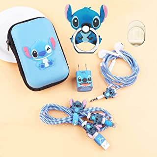 ZOEAST(TM) DIY Protectors Apple USB Data Line Cable Charger Earphone Wire Saver Protector Compatible with iPhone 5 5S SE 6 6S 7 8 Plus X XS Max iPad (Square Box, Stitch)
