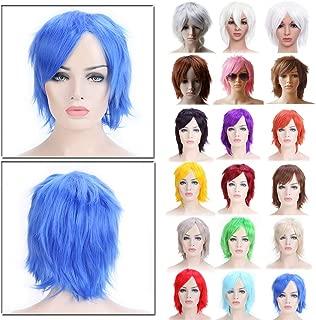 Anime Cosplay Unisex Short Straight Fluffy Full Wig Oblique Fringe with Free Elastic Weaving Wig Cap (dark blue)