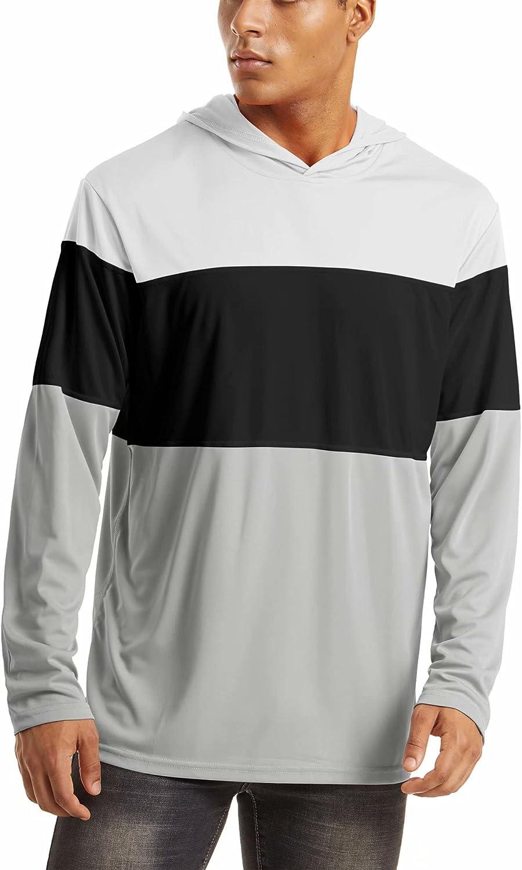 HOPATISEN Men's Sun Protection Shirts UPF 50+ Long Sleeve T-Shirts Sun Hoodie Rash Guards for Running Hiking Fishing