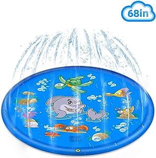 Flow.month Sprinkler Pad & Splash Play Mat,Kids Outdoor Sprinkler 68'' Summer Fun Inflatable Splash Play for Boys and Girls