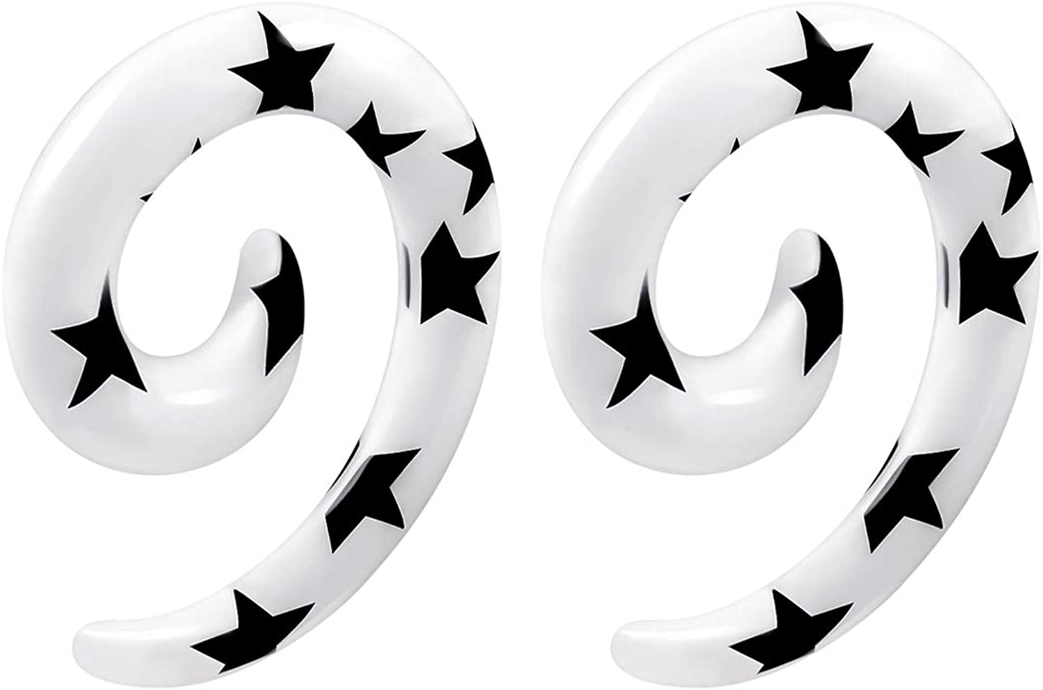 BIG GAUGES Pair of Acrylic Black Star Spiral Taper Expander Piercing Jewelry Ear Stretcher Stretching Earring Lobe Plugs