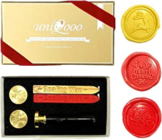 UNIQOOO Arts & Crafts Christmas Wax Seal Stamp Kit, 3 Stamps - Merry Christmas, Jingle Bell, Reindeer, 2 Wick Wax Sticks, Decoration for Invitations, Cards Envelops, Snail Mails, Xmas Gift Ideas