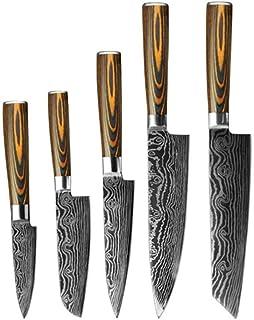 Couteau de cuisine set 5PCS Couteau de cuisine Set Couteaux chef japonais Damas haute teneur en carbone en acier inoxydabl...