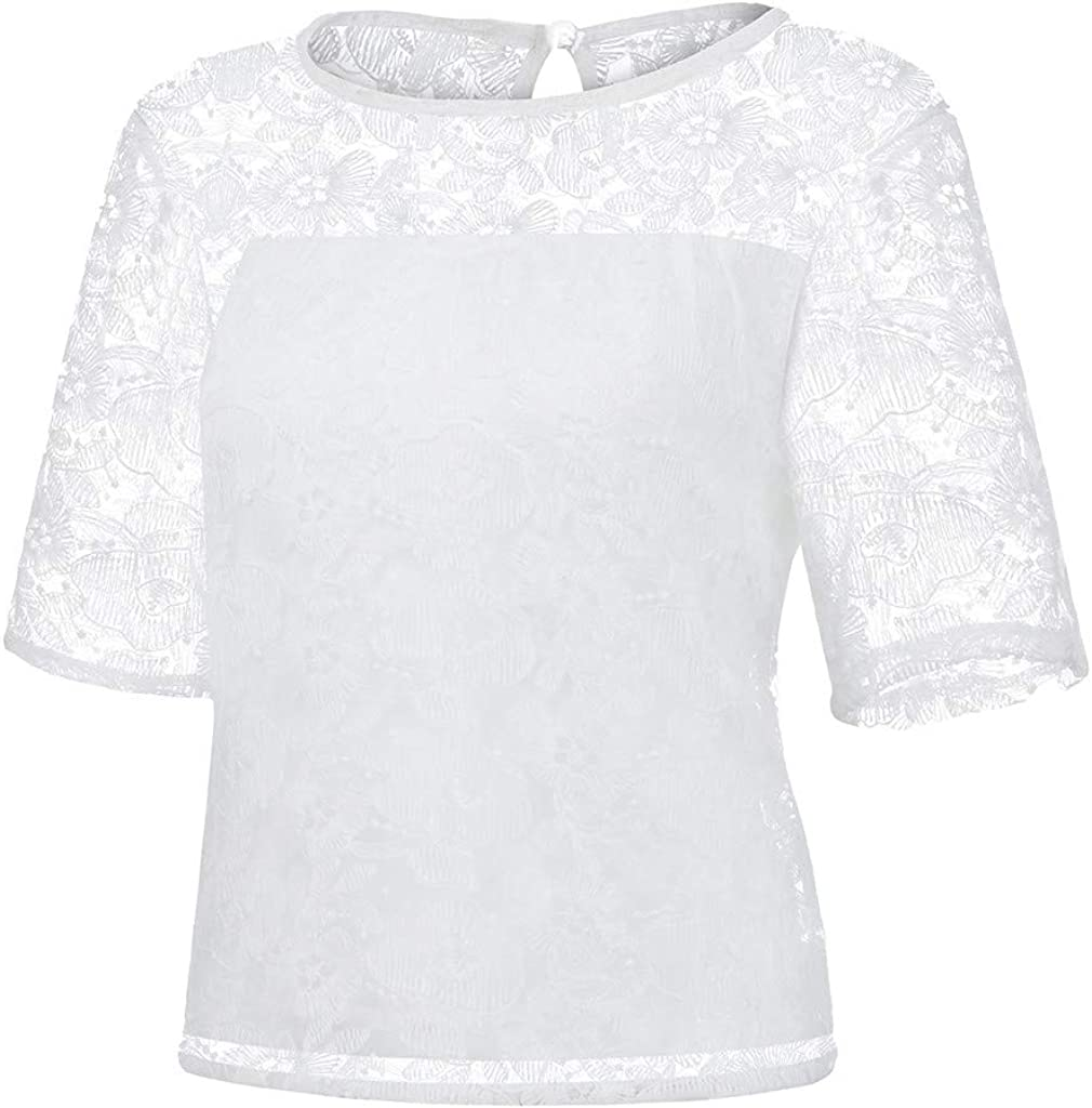 LINKIOM Women Fashion O-Neck Solid Lace Patchwork Short Sleeve Button Tops Blouse