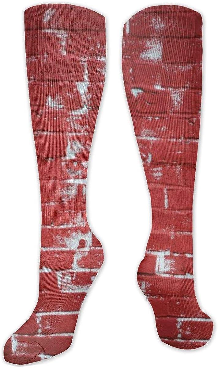 Red Wall Bricks Paint Knee High Socks Leg Warmer Dresses Long Boot Stockings For Womens Cosplay Daily Wear