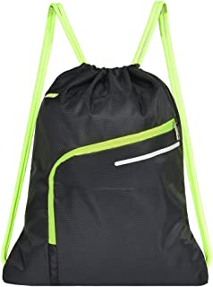 Saigain Gym Sack Large Drawstring Backpack Sport Bag Sackpack with Zipper for Men & Women,Black
