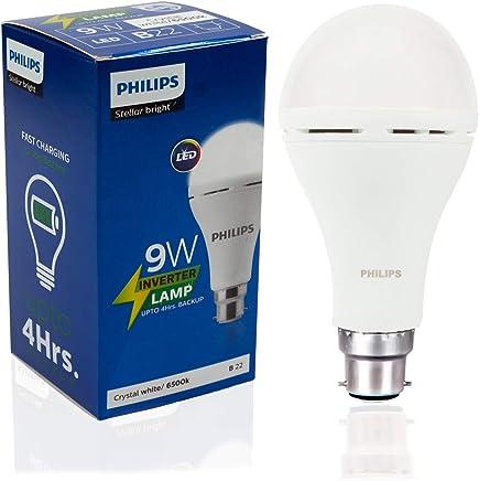 Philips Inverter Bulb 9 Watt Rechargeable Emergency LED Bulb for Home, Cool Daylight, Base B22