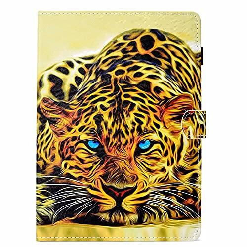 TTNAO Funda Compatible con Samsung Galaxy Tab E 9.6'' SM-T560 Case de TPU Suave Carcasa [+ Ranuras para Tarjetas] [+ Soporte de Visualización] Cover de Piel Cartera Plegable, Leopardo