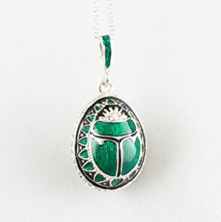 Scarab Necklace Green and Black Enamel over 925 Sterling Silver Pendant with Swarovski Crystals