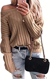 Womens Fashion Pullover Casual Ribbed Thicken Long Sleeve Knitted Loose Sweater Tops