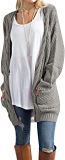 Women's Long Sleeve Open Front Chunky Cable Knit Loose Cardigan Sweater