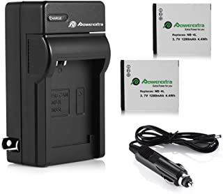 Powerextra 2 Pack Battery and Charger Compatible With Canon NB-4L, CB-2LV and Canon ELPH 330 HS, ELPH 300 HS, VIXIA mini, ELPH 100 HS, ELPH 310 HS, Powershot SD1400 IS, SD750, SD1000, SD600, SD1100 IS