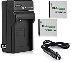Powerextra 2 Pack Battery and Charger Compatible With Canon NB-4L, CB-2LV and Canon ELPH 330 HS, ELPH 300 HS, VIXIA mini, ...