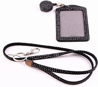 QIDUN Girl Badge Holder Rhinestone Lanyard Bling Crystal Necklace Badge Card Holder for Business Id/Key/Cell Phone (Colorful) (Black)