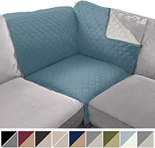 Sofa Shield Original Patent Pending Reversible Sofa Corner Sectional Protector, 30x30 Inch, Washable Furniture Protector, 2 Inch Strap, Sectional Corner Slip Cover for Pets, Dogs, Kids, Seafoam Cream