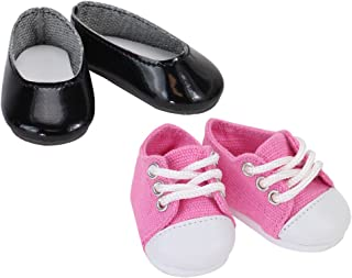 Sophia's 14 1/2 Inch Black Doll Shoes of Ballet Flats & Light Pink Sneaker Shoes Set, Perfect for Wellie Wishers & More!