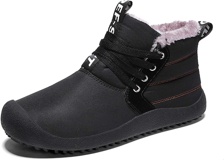 Men's Snow Boots Black Waterproof Slip On Warm Fur Lined Outdoor shoes