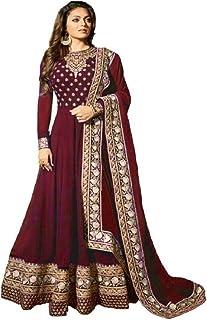 Monika Silk Mill Women's Geogette Embroidered Semi Stitched Anarkali Salwar Suit