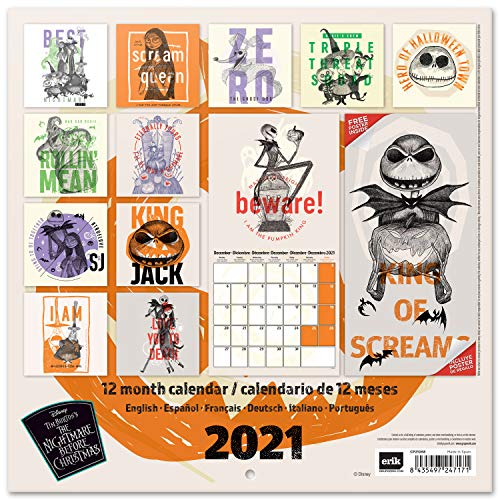 Official Disney Nightmare Before Christmas 2021 Wall Calendar 11.8 x 11.8 inches (12 Months - Free Poster Included) Family Planner Calendar 2021, CP21068