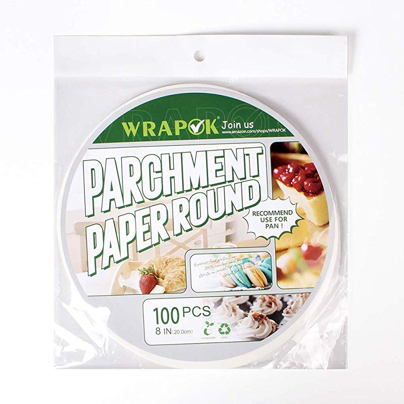 WRAPOK Baking Parchment Paper Round 8 Inch Greaseproof Paper Non Stick For Pans Cooking Cake Circle 100 Count