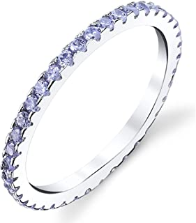 Solid 925 Sterling Silver Stackable 0.50 Carat TW Ring Micro Pave Eternity Band CZ Lavender Tanzanite
