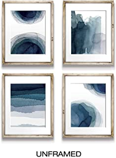 Wall Art Prints for Living Room Bedroom Kitchen   Abstract Aqua Blue Watercolor Paintings   Digital Prints   Home Decor Accents   Home Decorations   8X10   Set of 4   Unframed