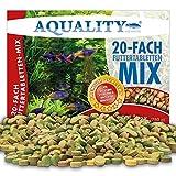 AQUALITY Aquarium 20 Sorten Futtertabletten Mix 1 Liter (Tgliche Futterabwechslung, Hauptfuttermittel Tabs fr Zierfische, Pflanzen, Spirulina, Tablettenfutter, Futter)