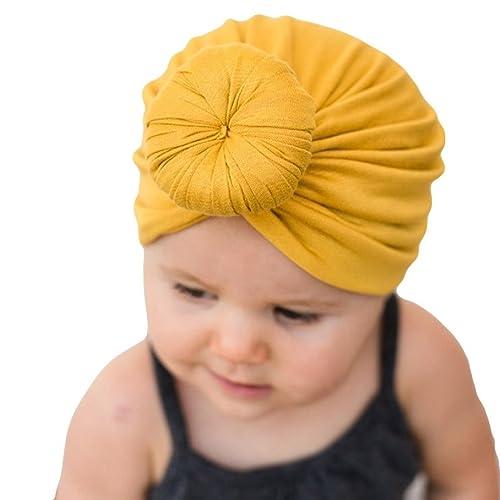 Voberry Kids Baby Bohemian Head Wrap Cap Cute Cotton Turban Knot Hat  (Yellow 1) abe939d4cd3