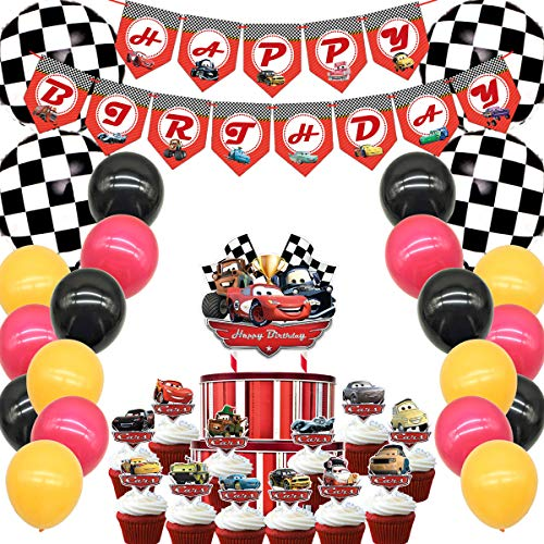 Decorations for Lighting Mcqueen Birthday Party Supplies Party Car Theme, Banners, Balloons, Cake Topper, Cupcake Toppers