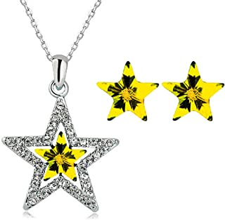 Dainty Star Pendant Necklace and Earrings for Women,Lucky Blue Purple Crystal Star Choker Jewelry Sets