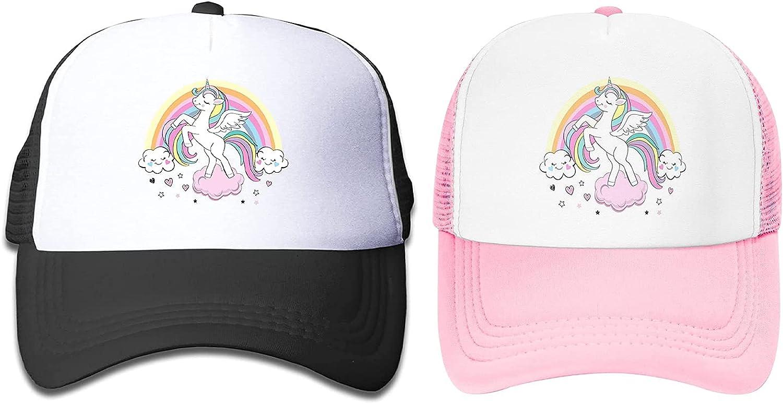 Waldeal Max 55% OFF 2 New sales Pack Big Girls' Rainbow Unicorn Adju Hats Trucker Mesh