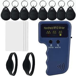Homsafe RFID Reader Writer 125khz RFID Writer EM4100 Handheld RFID ID Card Writer Copier Duplicator with Readable& Rewritable 8pcs T5577 Fob Tags 2pcs T5577 RFID Wristband 4pcs T5577 RFID Cards