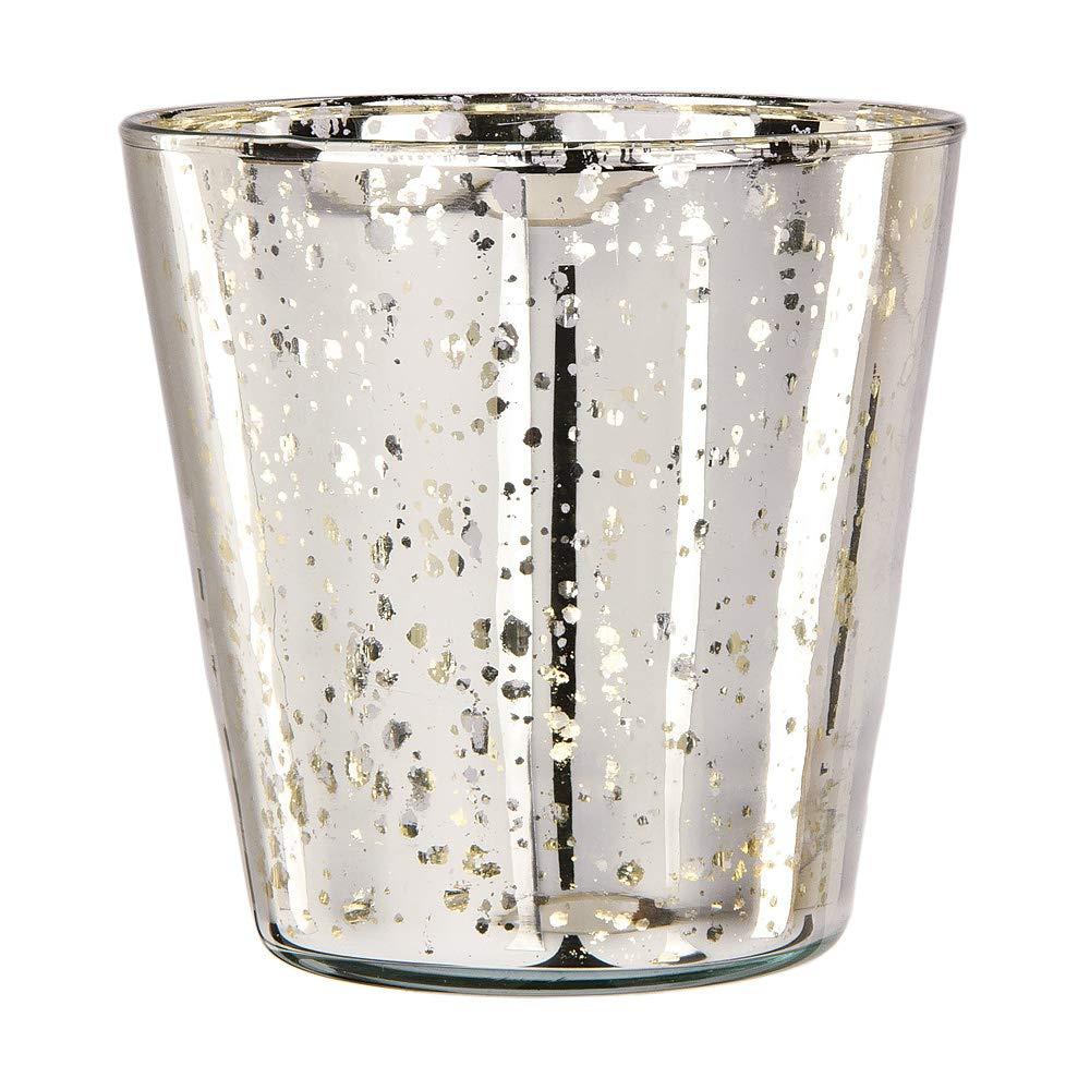 6-Inch, Grace Ruffled Swirl Design, Silv Luna Bazaar Vintage Mercury Glass Vase