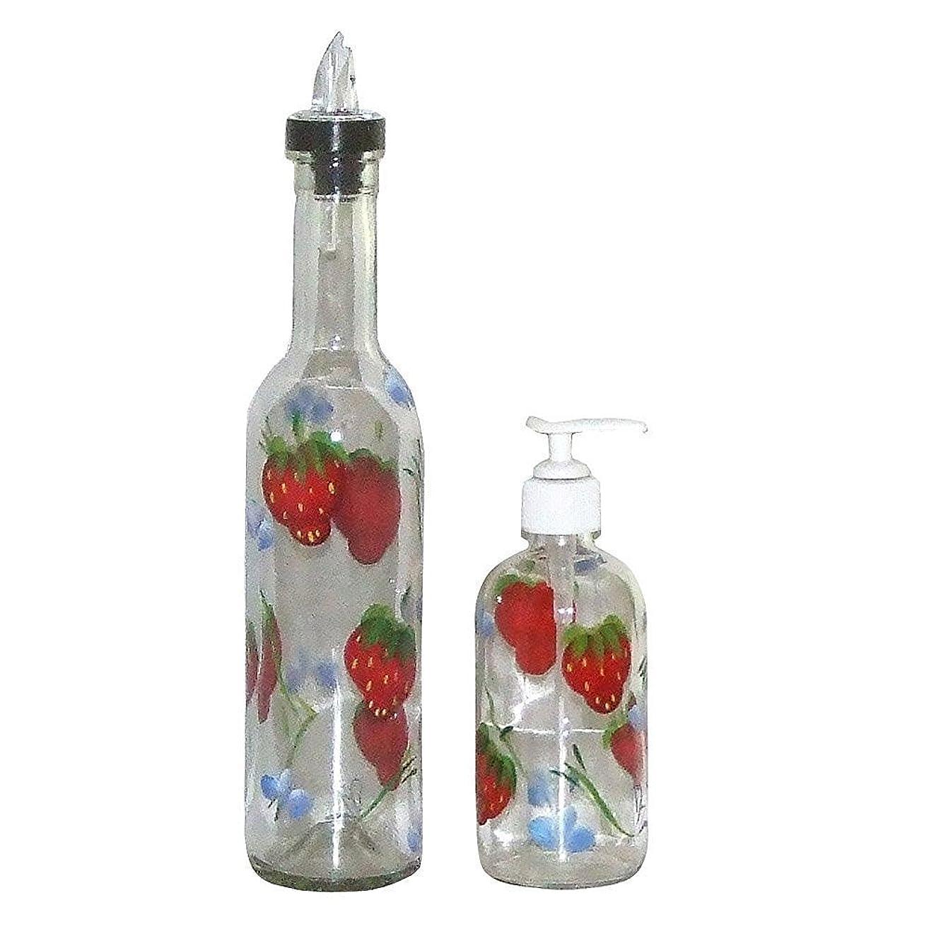 Hand Painted Clear Glass Pour Spout Bottle & Soap/Lotion Dispenser Set. Luscious Strawberry Design.