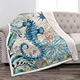 Jekeno Sea Horse Sherpa Blanket Smooth Soft Ocean Style Print Throw Blanket for Sofa Chair Bed Office Gift 50'x60'