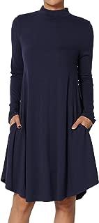 Long Sleeve Mock Neck Pocket Drape Jersey Fit & Flare A-Line Midi Dress
