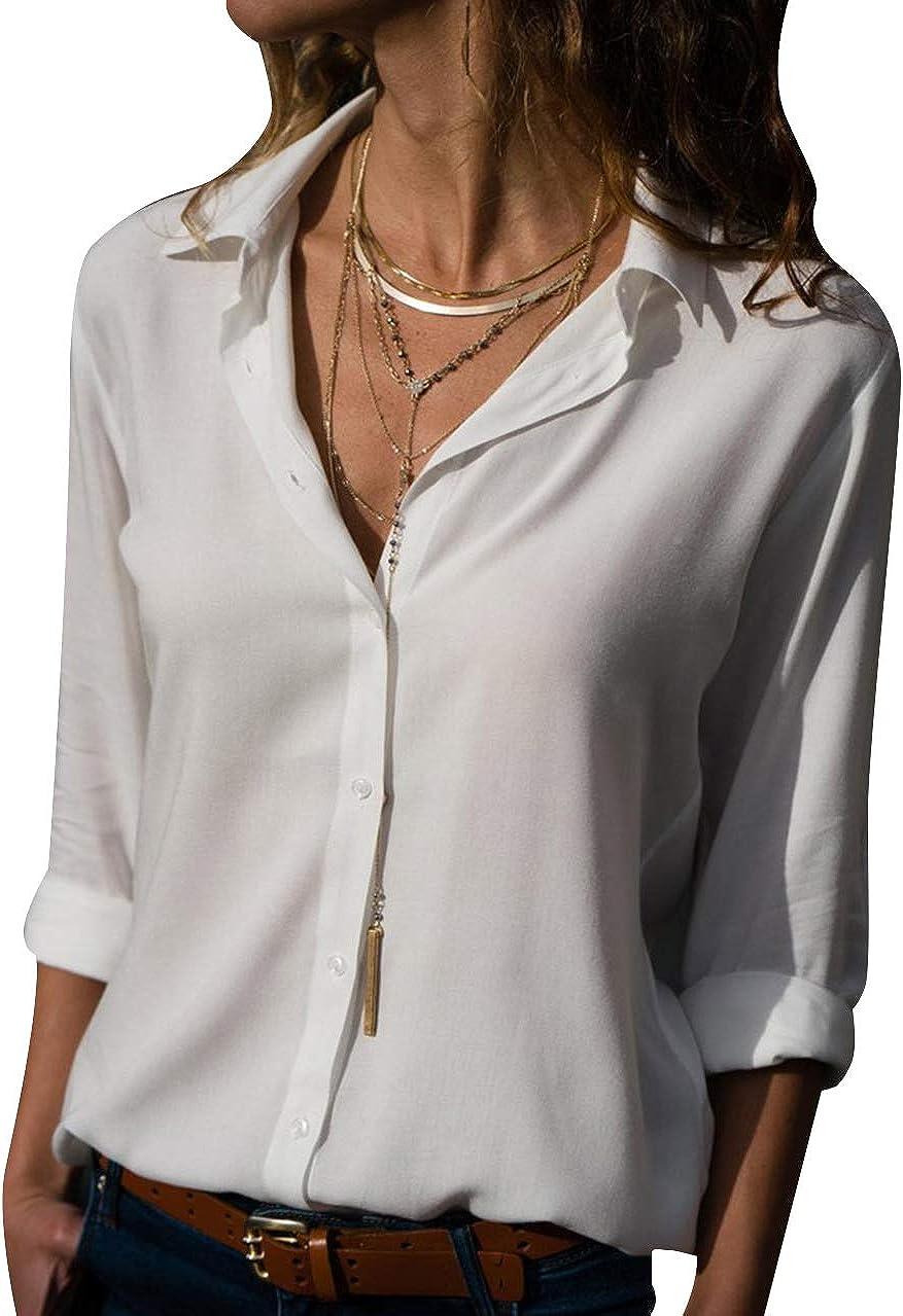 OMZIN Women's Casual Shirt Button Down V-Neck Chiffon Blouses Tops