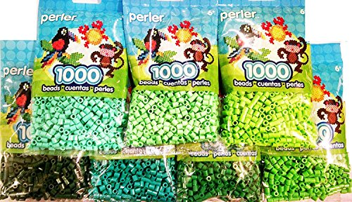 Perler Bead, 7 Pack Green Group (Dark, Light, Pastel, Bright, Parrot Green, Evergreen, Kiwi Lime)