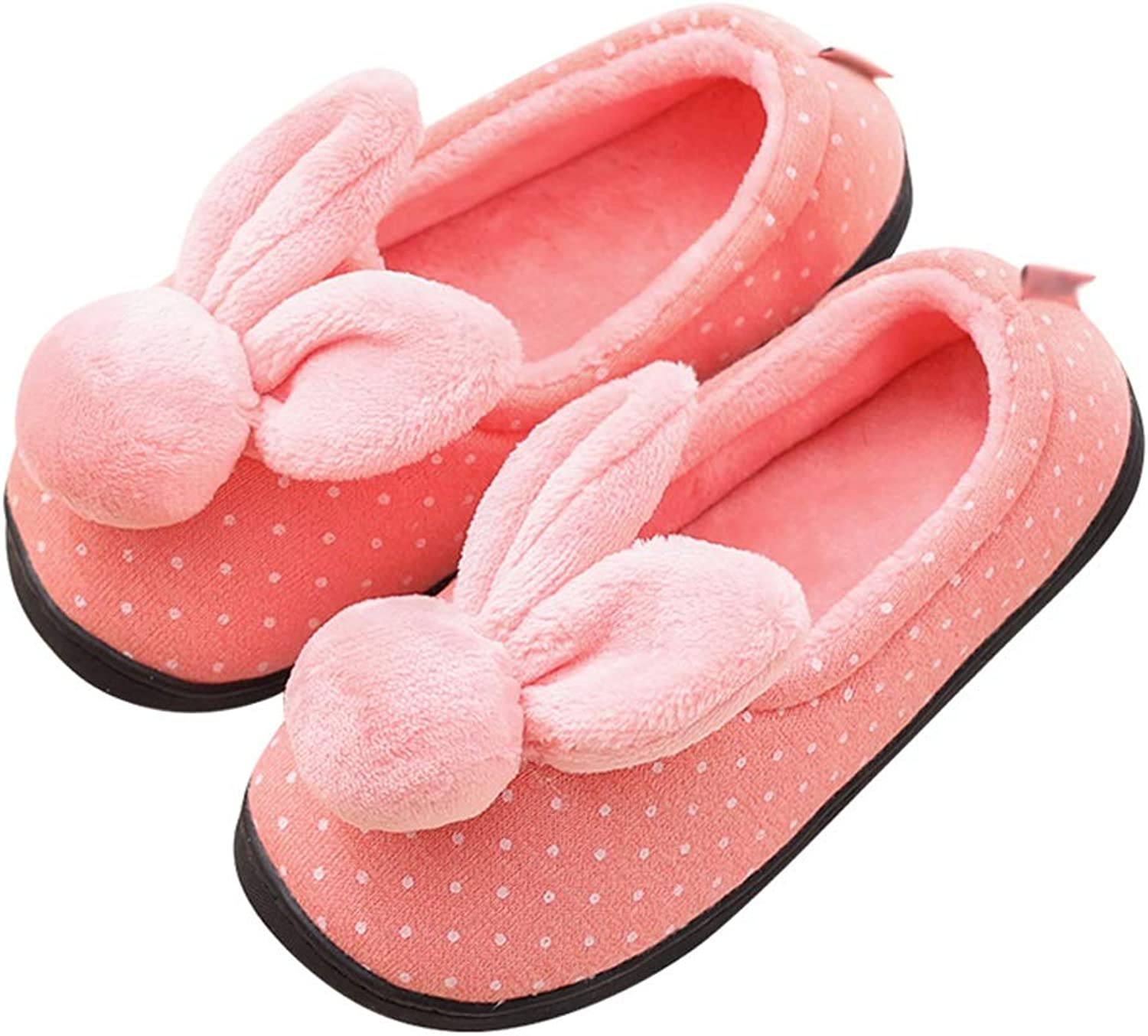 HUYP Cute Pregnant Women Cotton Slippers Women Keep Warm Non-Slip Spring and Autumn (color   Pink, Size   5.5 US)