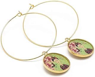 Orecchini creolo Frida farfalla ottone oro 24 carati oro verde fiore rosa ottone bronzo regali personalizzati Natale cerim...
