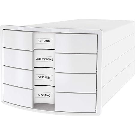 HAN IMPULS Boîte de rangement 4 tiroirs fermés Blanc Format A4/C4