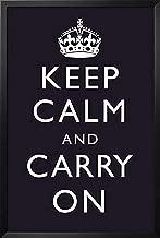 Buyartforless Keep Calm and Carry On (Motivational, Dark Blue) 36x24 Art Print Poster