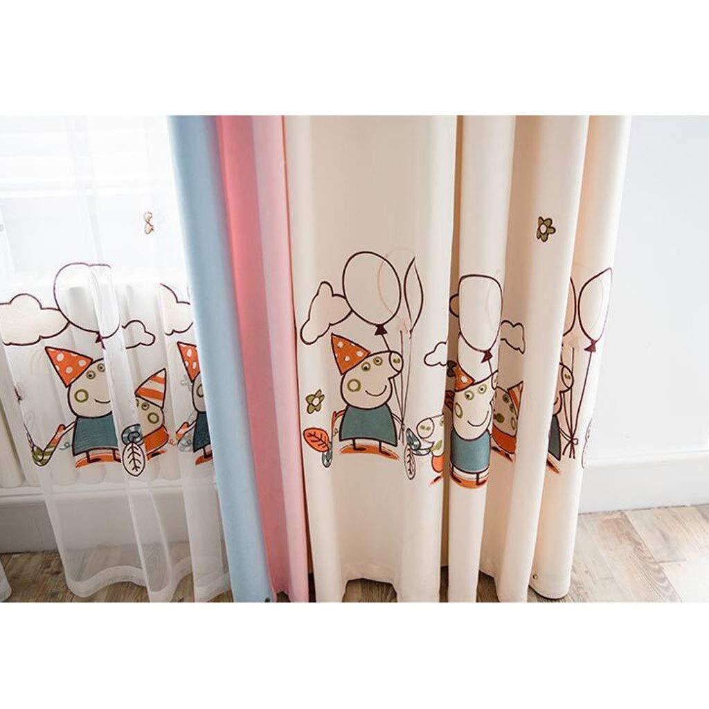 Cortina ZYL Red Princesa roja Estilo Acabado Cortinas Cute Cartoon Pig Chevron Half Shade Habitación for niños Niños y niñas Ventana de piso Ventana de Bahía Happy Pig Tipo de gancho ancho