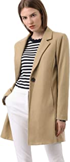 Allegra K Women's Notched Lapel One Button Trench Coat