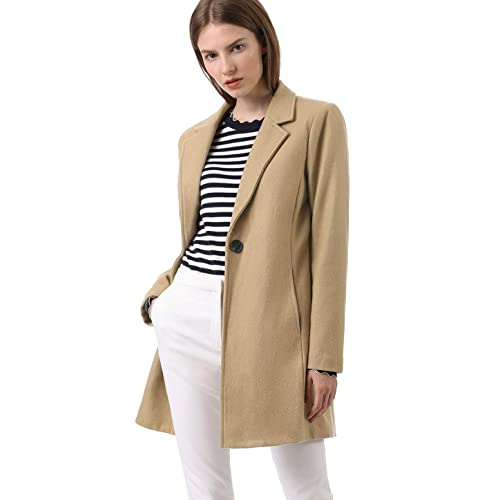 50160636e3b78a Allegra K Women s Notched Lapel One Button Trench Coat