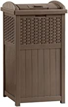 Suncast 33 Gallon Hideaway Trash Can for Patio - Resin Outdoor Trash with Lid - Use in Backyard, Deck, or Patio - Brown