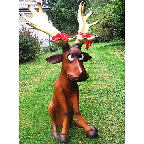SSITG XXL grappig rendier ~ RUDI zittend ca. 140 cm hoog ~ ELK ~ Kerstmis ~ Deco ~ XMAS (levertijd is 3-7 dagen)