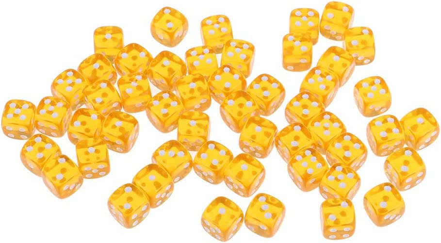 Homyl 50PCS Acrylique D/és /À Six Face 12mm D6 D/és pour D/&D RPG Jeu de Soci/ét/é Orange